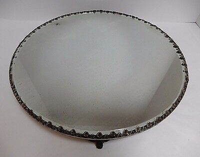 "Antique VTG LARGE Footed Plateau Beveled Mirror Ornate Brass Edge 14"" Vanity"