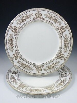"""Wedgwood England GOLD COLUMBIA 10-3/4"""" DINNER PLATES Set of 2"""