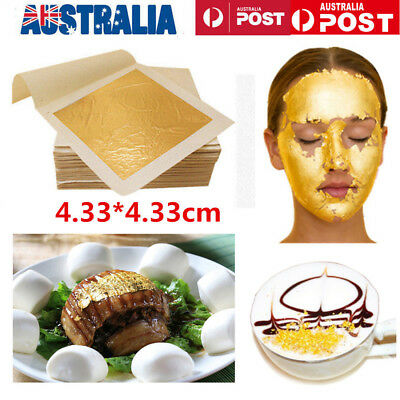 10x 24K Edible Pure Genuine Gold Foil Leaf Sheet Food Face Mask SPA Gilding MN