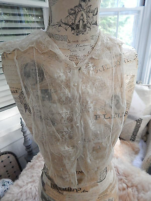 Antique 1920's  Net Lace Dress Collar Front Frill Jabeau Pearls Attic Find