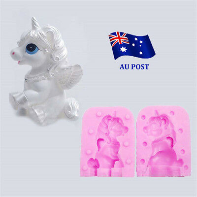 Unicorn Horse Molds Candle Shaped Handmade Soap Cake Sugar Silicone Mould 3D MN