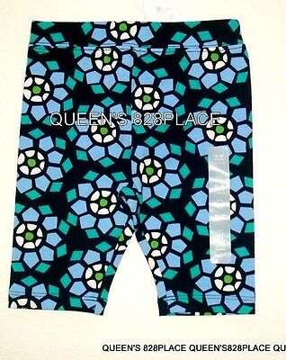 Nwt Baby Gap Girls 12 18 Months Blue Teal Floral cropped legging Bike shorts New