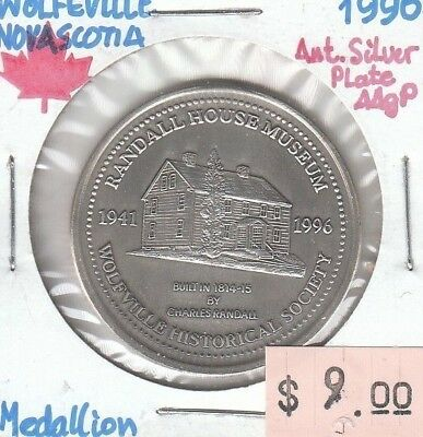 Wolfville Nova Scotia Canada - Medallion - 1996 Antiqued Silver