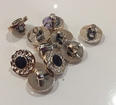 10 X 13mm Gold Acrylic Shank Buttons With Black Centre-Australian Supplier