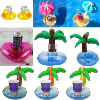 Cute Fruit Donut Inflatable Drink Can Beer Holder Swimming Pool Toy Boat Unicorn