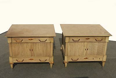 Pair UNIQUE Vintage Mid-Century Modern White-Wash NIGHTSTANDS Copper Hardware