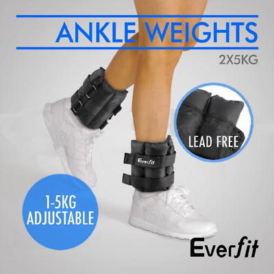 Everfit Wrist Ankle Weight 2x 5kg Gym Fitness Crossfit 10kg Adjustable Strap