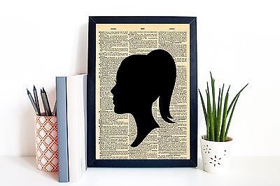 A4 Print Poster Girl Silhouette on Dictionary Background Wall Art Unframed
