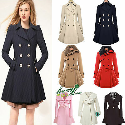 Womens Winter Warm Parka Overcoat Trench Coat Flared Long Jacket Outwear Tops