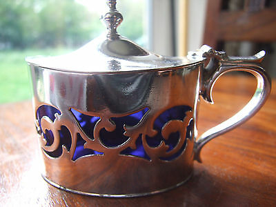 Antique c1896 Silver Plated Lidded Mustard Pot & Blue Glass Liner. Fenton Bros