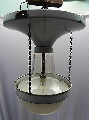 Art Deco Light Vintage Electric Lamp Old Ceiling Light Fixture Enamel And Glass