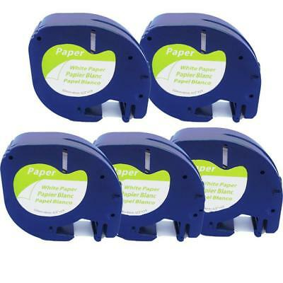 5pk LT 91200 91330 Compatible for DYMO Letra Tag Label Tape White Paper 12mm