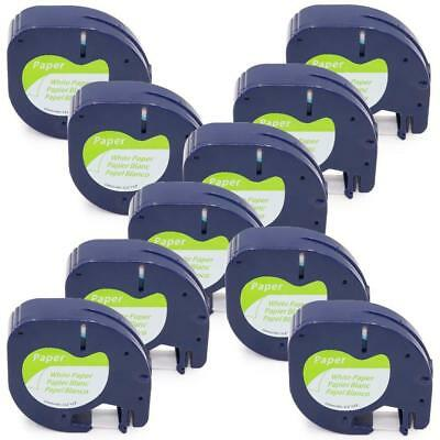 91200 91330 Compatible for DYMO LetraTag Label Tape White Paper 12mm 10pk
