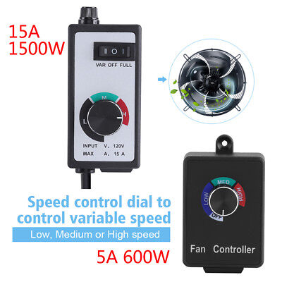 120V 5/15A Active Duct Fan Variable Speed Dial Controller for Inline Exhaust Fan