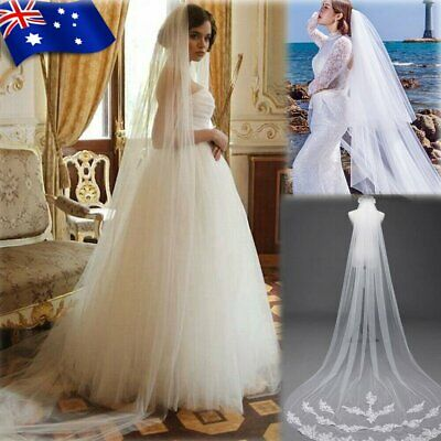 White Ivory 1T Cathedral Applique Edge Lace Bridal Wedding Veil With Comb 3M  MN