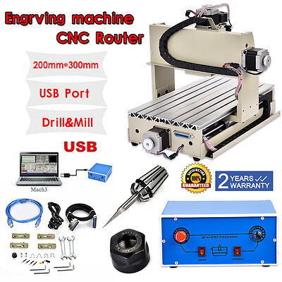 USB Engraver 3 Axis 3020 CNC Router Engraving Drilling Milling Machine 300W USA
