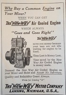 "Antique 1913 Ad(F7)~The ""new-Way"" Motor Co. Lansing, Mi. Air Cooled Engine"