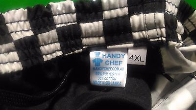 Chef Pants Unisex Black & White Check Drawstring Polyester/Cotton Pockets 4XL