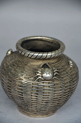 Delicate Chinese Silver Copper Handmade Crab Storage Tank