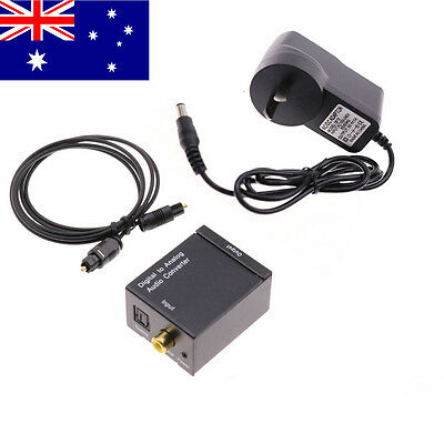 AU Digital to Analog Audio Converter Toslink Cable Optical to L/R RCA Analogue