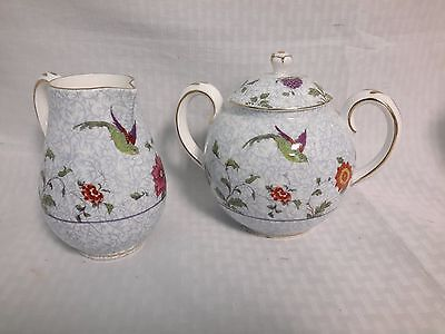 Crown China Birds of Paradise Pattern #592627  Sugar Bowl With Lid/Creamer Set