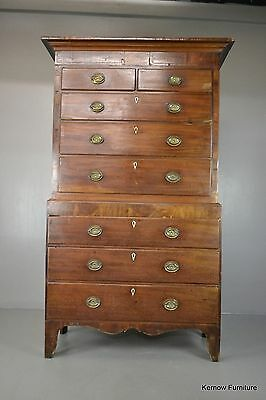 Antique Georgian George III Large Mahogany Chest on Chest of Drawers