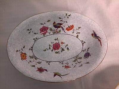"Crown China Birds of Paradise Pattern #592627  7"" Oval Vegetable Serving Dish"