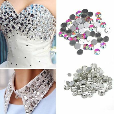 50pcs Crystal AB Beads Stones Clothing Jewelry Rhinestone Buttons Sew On