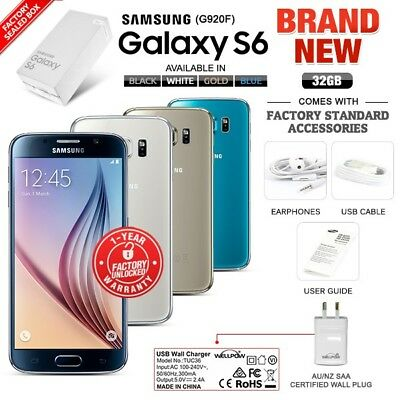 New Factory Unlocked SAMSUNG Galaxy S6 G920F Black White Gold Blue Android Phone