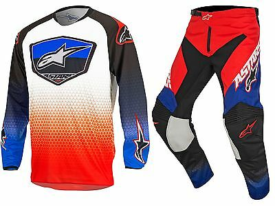 Sale! 17 Alpinestars Racer SUPERMATIC Jersey Pant Kit 32 34 36 38 RED/BLUE/WHITE