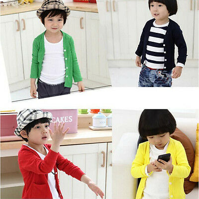 Spring Autumn Cotton Kds Sweater Candy-colored Cardigan Boys Girls Outwear MO