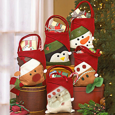 Cute Cartoon Christmas Candy Bags Wine Stocking Bottle Gift Bag Xmas Decoration