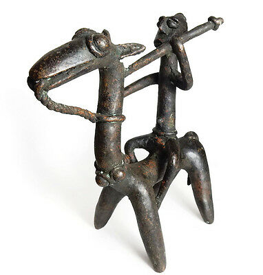 Mega Rare Superb Antique African Tribal Dogon Cast Bronze Horse Riding Warrior