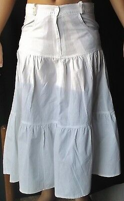 GONNA A BALZE MADE IN ITALY Tg 46 COTONE 100% BIANCO WHITE SKIRT TASCHE CERNIERA