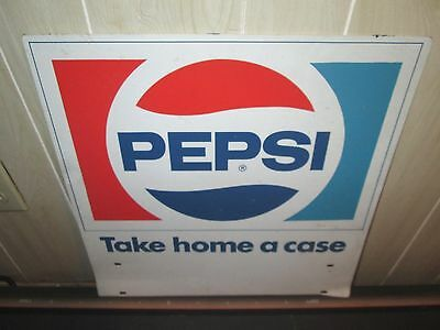 "Vintage Double Sided Metal Pepsi Cola Sign ""take Home A Case"" Soda Collectible"