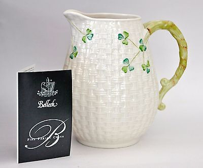"NIB Belleek Milk Pitcher Jug Shamrock Basket Weave Ireland 6"" Hand Painted NEW"