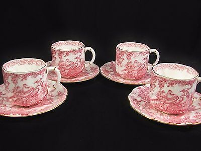 Royal Crown Derby Pink Aves Set Of 4 Tea Cup And Saucer