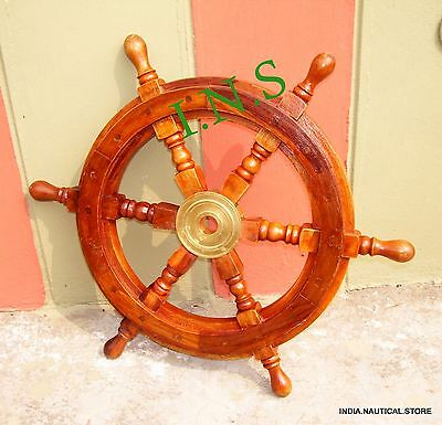 Brass Wall Boat Captain Nautical Wooden Ship Steering Wheel Pirate Decor Wood
