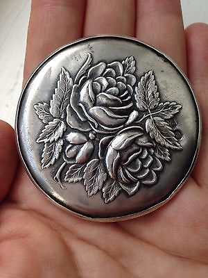 Antique Small Round Hand Mirror Roses ornament Russian Sterling Silver circa 30s