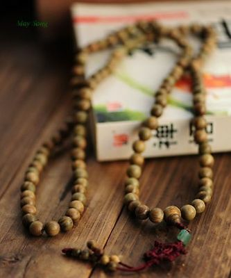 108 Fragrant 12mm Green Sandalwood Buddhist Prayer Bead Mala Necklace/Bracelet