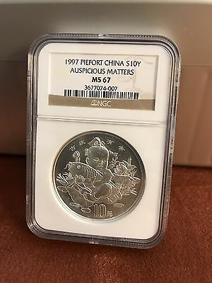 1997 China Auspicious Matters 10 Yuan 2 OZ .999 Silver NGC MS 67 Piefort!