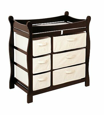 Badger Basket Baby Changing Table with Six Baskets, Espresso