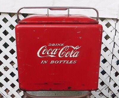 Vintage 1950's Red Coca Cola Picnic Soda Cooler, Bottle Opener Progress  Ref Co.