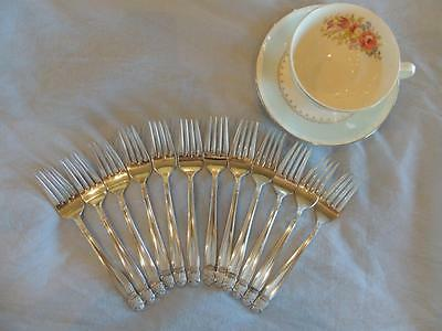 DANISH PRINCESS 1938 Set 12 Silverplate Flatware Salad Forks Holmes Antique Lot