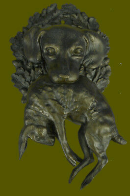 RARE Large Vintage AUSTRIAN Bronze Hunting DOG with HARE or RABBIT Sale Figurine
