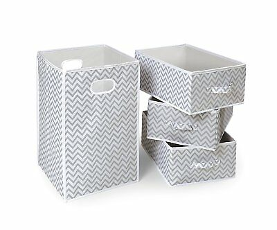 Badger Basket Folding Hamper and 3 Basket Set, Gray/White