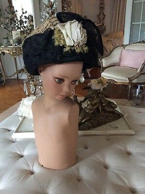 Antique VTG edwardian VICTORIAN OLD HAT MILLINERY  bonnet 1800'S?