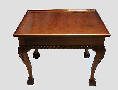 Chippendale Tea Table in Burl & Flamed Mahogany