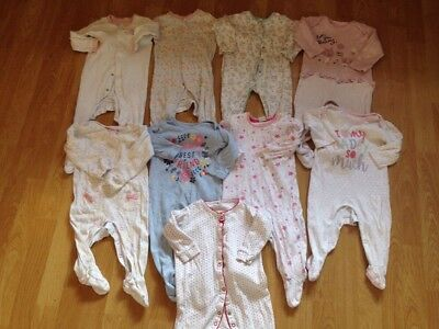 Bundle Of 9 X Baby Girls SleepSuits Babygrows Age: 6-9 Months
