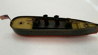 Antique German Tin Windup Battleship by J L Hess Circa 1900's